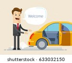 welcome to the car. man in... | Shutterstock .eps vector #633032150