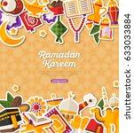 ramadan kareem banner with flat ... | Shutterstock .eps vector #633033884