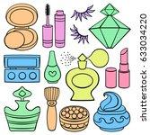 flat icon set  make up  beauty... | Shutterstock .eps vector #633034220