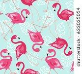 flamingo seamless pattern on... | Shutterstock .eps vector #633035054