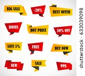 vector stickers  price tag ... | Shutterstock .eps vector #633039098