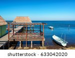 view of a pier and boats in the ... | Shutterstock . vector #633042020