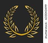 gold award laurel wreath on... | Shutterstock . vector #633043499