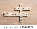 wooden cubes spelling concepts... | Shutterstock . vector #633043994