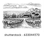 hand drawn vineyard landscape.... | Shutterstock .eps vector #633044570