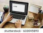 computer screen show about... | Shutterstock . vector #633045893