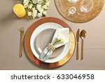 beautiful table setting with... | Shutterstock . vector #633046958