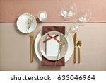 beautiful table setting with... | Shutterstock . vector #633046964