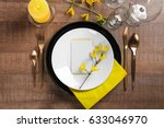 beautiful table setting with... | Shutterstock . vector #633046970