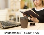 selective focus on a paper cup... | Shutterstock . vector #633047729