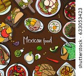 square background with mexican... | Shutterstock .eps vector #633053423