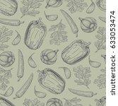 vector hand drawn seamless... | Shutterstock .eps vector #633053474