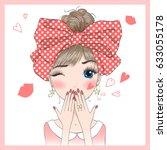 Stock vector hand drawn beautiful cute girl sends an air kiss vector illustration 633055178