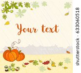 autumn background with pumpkins ... | Shutterstock .eps vector #633060518