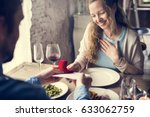 romantic man giving will you... | Shutterstock . vector #633062759