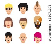 set of avatars isolated on... | Shutterstock .eps vector #633071378