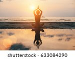 yoga woman silhouette on the... | Shutterstock . vector #633084290