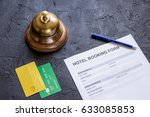 hotel reservation blank and... | Shutterstock . vector #633085853