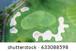 top view green golf course... | Shutterstock . vector #633088598