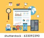 business data and charts in the ... | Shutterstock .eps vector #633092390