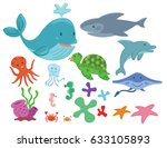 sea animals cartoon set | Shutterstock .eps vector #633105893