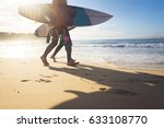 australian surfers walking... | Shutterstock . vector #633108770