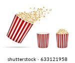 set of popcorn  isolated on... | Shutterstock .eps vector #633121958