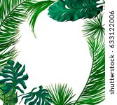 tropical palm leaves set  drawn ... | Shutterstock .eps vector #633122006