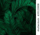 tropical palm leaves set  drawn ... | Shutterstock .eps vector #633123008