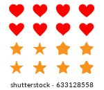 set of simple heart and star...