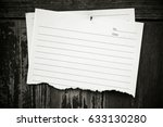 lined paper textured on wood... | Shutterstock . vector #633130280