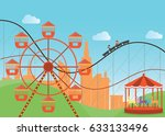 amusement park in flat colorful ... | Shutterstock .eps vector #633133496