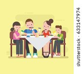family dinner  | Shutterstock .eps vector #633147974