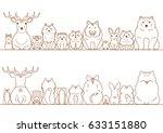 woodland animals border set | Shutterstock .eps vector #633151880