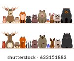 woodland animals border set | Shutterstock .eps vector #633151883