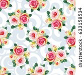 seamless floral pattern with... | Shutterstock .eps vector #633158534