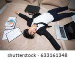 asian businessman is deep... | Shutterstock . vector #633161348