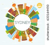 sydney skyline with color... | Shutterstock . vector #633164450