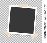 photo frame with sticky tape on ... | Shutterstock .eps vector #633165779