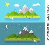 flat nature landscape. vector... | Shutterstock .eps vector #633175190
