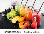 fresh color juices smoothie... | Shutterstock . vector #633179318