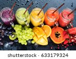 fresh color juices smoothie... | Shutterstock . vector #633179324