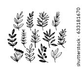 set of hand drawn botanical... | Shutterstock .eps vector #633181670