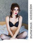 young girl in black underwear... | Shutterstock . vector #633202304