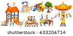 happy kids playing at the... | Shutterstock .eps vector #633206714