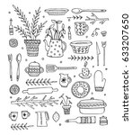 pattern with kitchen objects.... | Shutterstock .eps vector #633207650