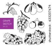 grape sketch. different types... | Shutterstock .eps vector #633207674