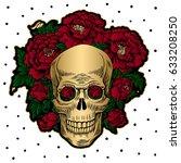 day of the dead gold skull.... | Shutterstock .eps vector #633208250