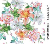seamless pattern with flowers....   Shutterstock . vector #633216374