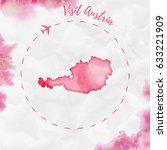 austria watercolor map in red... | Shutterstock .eps vector #633221909